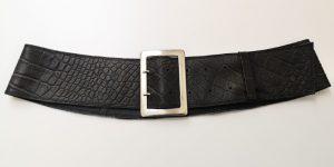 Bredt sort formskåret kroko bælte