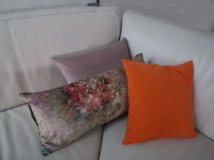 3 puder: blomster / lyserød / orange