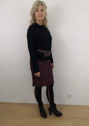 Bouclé nederdel i multicolor
