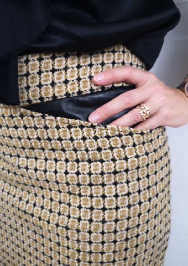 Karry gul uld nederdel med skind
