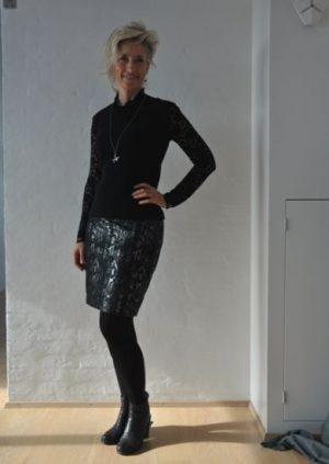 Snake nederdel i sølv og sort