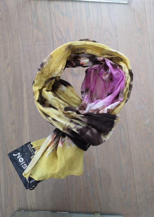 Batik tørklæde i karry og lilla