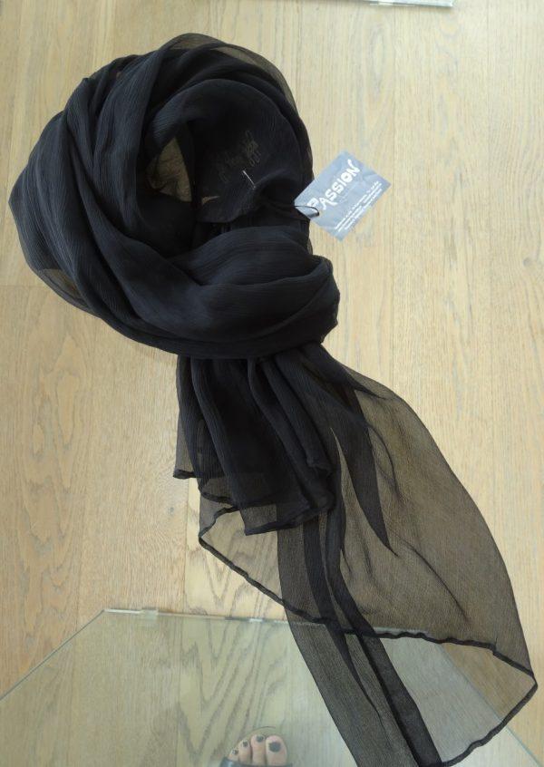 Sort crepe silke tørklæde