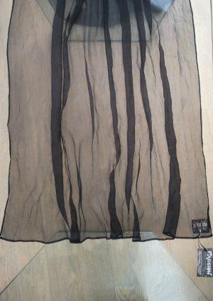 Bredt sort crepe silke tørklæde
