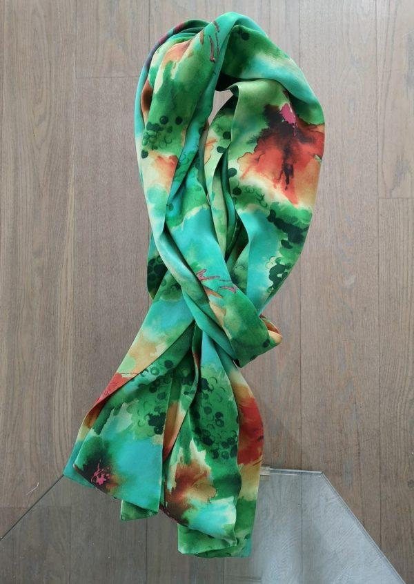 Silke tørklæde i pangfarver
