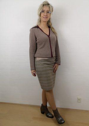nøddebrun uld cardigan med skind