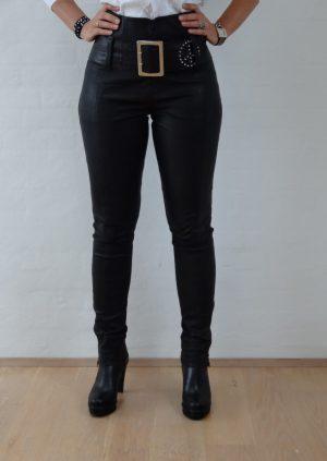 Sorte stretch skind bukser med slids