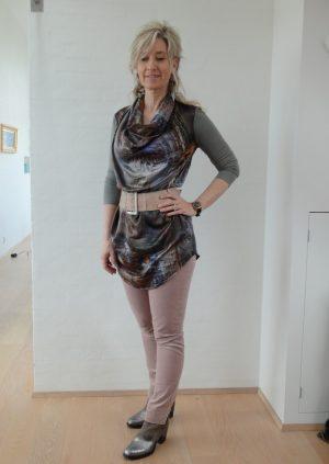 Lyserød velour bukser med slids