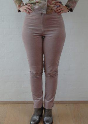Lyserøde velour bukser med slids