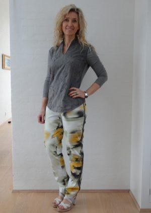 Grøn gule bukser med høj talje