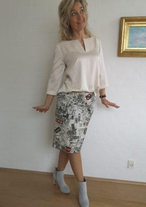 Smart nederdel i London stof