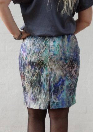 Nederdel i tyrkis grå og grøn