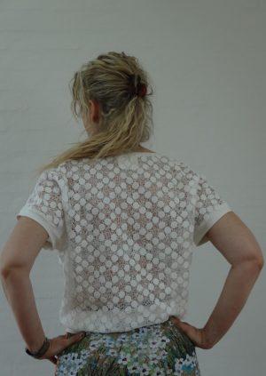 Smart silke bluse med blonde