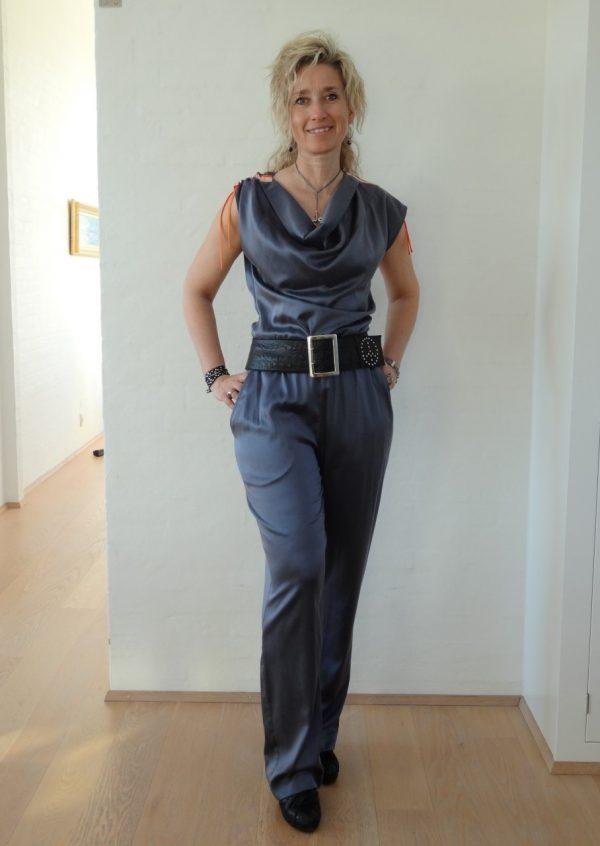 Grå stretch silke bukser med lommer