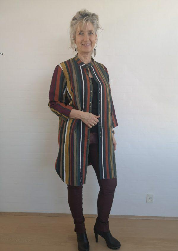 Stribet tunika jakke med kinakrave