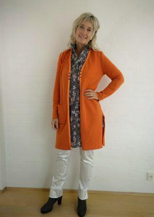 Orange strik cardigan i uld